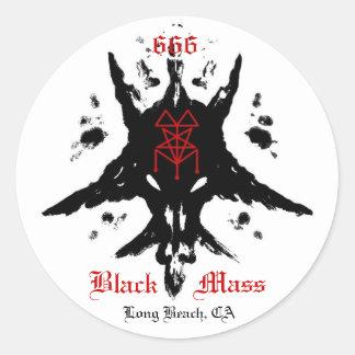 blackmassinkblot, 666, masa, negro, Long Beach, CA Etiqueta Redonda