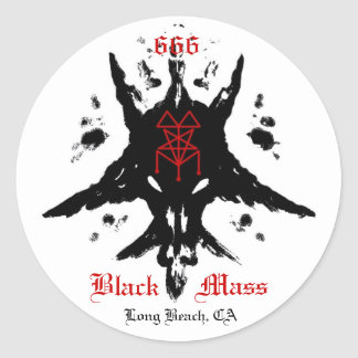 blackmassinkblot, 666, Mass, Black, Long Beach, CA Classic Round Sticker