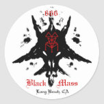 blackmassinkblot, 666, Mass, Black, Long Beach, CA Round Stickers