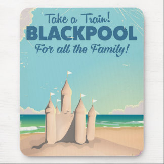 Blackpool,England vintage sandcastle travel poster Mouse Pad