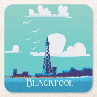 Blackpool, England vintage travel poster Square Paper Coaster