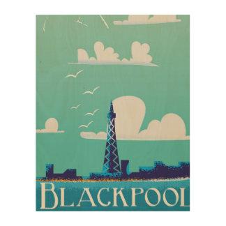 Blackpool, England vintage travel poster Wood Wall Art
