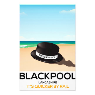 "Blackpool ""kiss me quick"" hat travel train poster stationery"