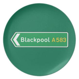 Blackpool señal de tráfico BRITÁNICA Platos De Comidas