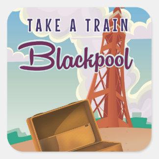 Blackpool vintage travel poster square sticker