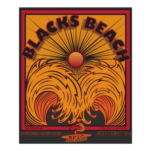 BLACK'S BEACH SAN DIEGO CALIFORNIA SURFING POSTERS