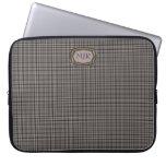 Blacks / Tans Scottish-style Tartan Plaid monogram Laptop Computer Sleeves