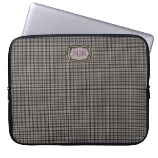 Blacks / Tans Scottish-style Tartan Plaid monogram Laptop Sleeve