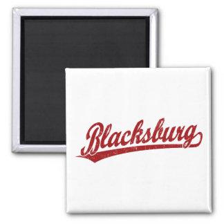 Blacksburg script logo in red 2 inch square magnet