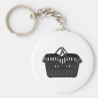 BlackShoppingBasket110511 Basic Round Button Keychain