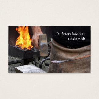Blacksmith at a forge business card