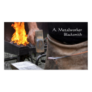 Blacksmith at work with forge business card