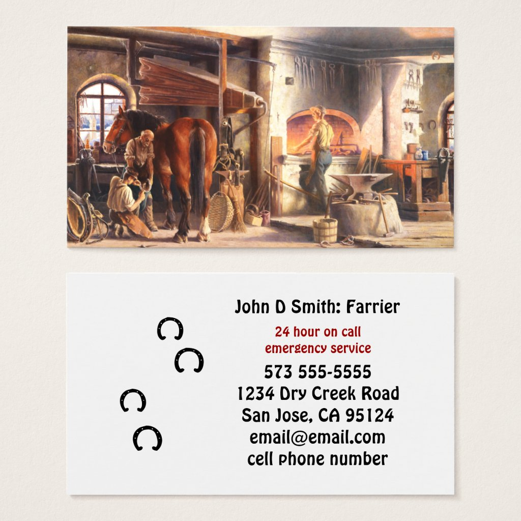 Blacksmith Farrier Business Card