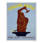 Blacksmith Forging 1940 WPA Poster