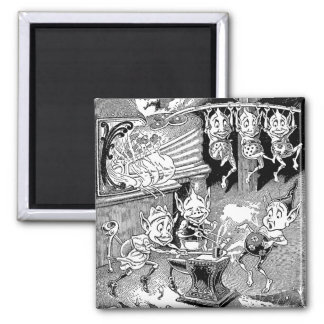 Blacksmith Gnome at the Forge 2 Inch Square Magnet