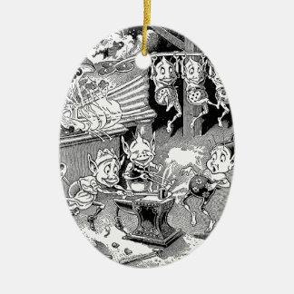 Blacksmith Gnome at the Forge Ceramic Ornament