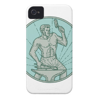Blacksmith Hammering Anvil Circle Mono Line iPhone 4 Case