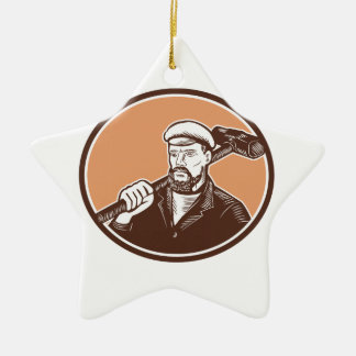 Blacksmith Holding Sledgehammer Woodcut Christmas Tree Ornament