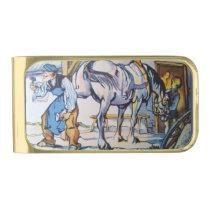 Blacksmith horse horseshoe antique business man gold finish money clip