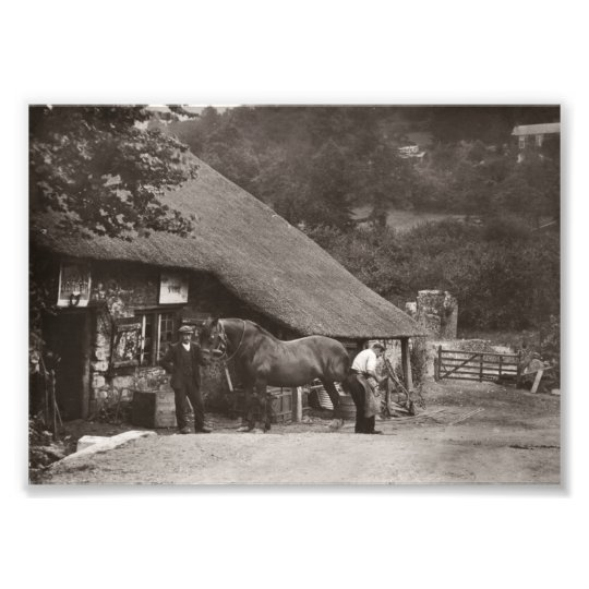 Blacksmith shoeing a horse photo print