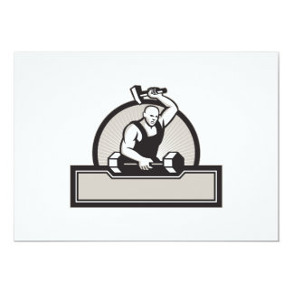 Blacksmith With Hammer Striking Barbell 5x7 Paper Invitation Card