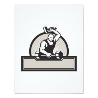 Blacksmith With Hammer Striking Barbell Personalised Invitation
