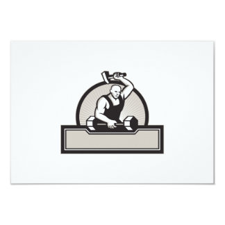 Blacksmith With Hammer Striking Barbell Invitations