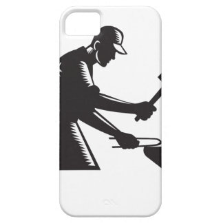 Blacksmith Worker Forging Iron Black and White Woo iPhone SE/5/5s Case