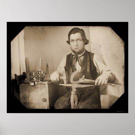 Blacksmith Working Daguerreotype 1846 Poster
