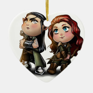 blackthorn and rowen Double-Sided heart ceramic christmas ornament