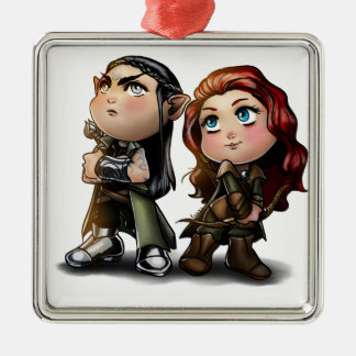 blackthorn and rowen square metal christmas ornament