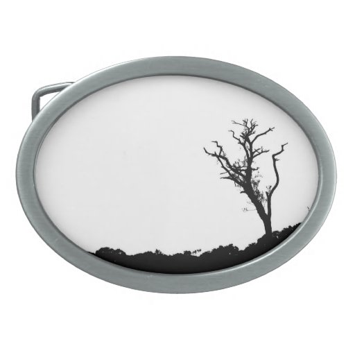 BlackTree over White Painting Abstract Art Oval Belt Buckle