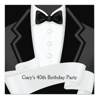 BlackTuxedo Mans Black White 40th Birthday Party Card
