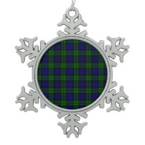 Blackwatch tartan Campbell clan Snowflake Pewter Christmas Ornament