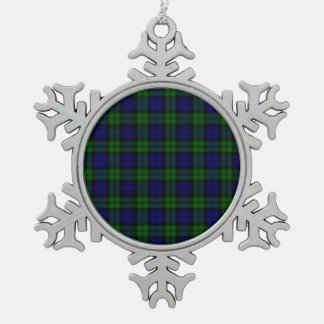 Blackwatch tartan Campbell clan Snowflake Pewter Christmas Ornament
