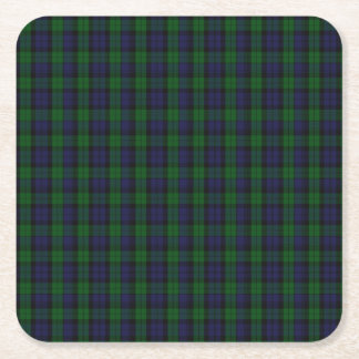 Blackwatch Tartan Square Paper Coaster