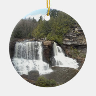 Blackwater Falls Double-Sided Ceramic Round Christmas Ornament