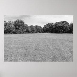 Blackweir Fields, Bute Park, Cardiff. (B&W) Poster