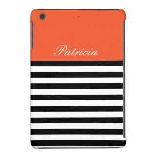 BlackWhite Stripes Tangerine Tango Custom Monogram iPad Mini Retina Case