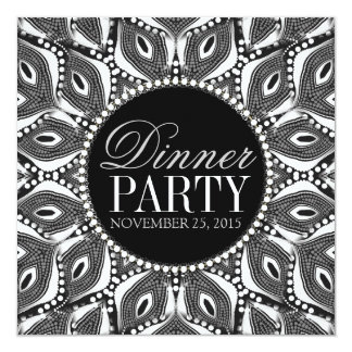 "BlackWhite Tribal Serpent Dinner Party Invitations 5.25"" Square Invitation Card"