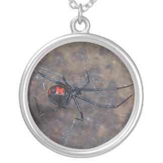 blackwidow spider round pendant necklace