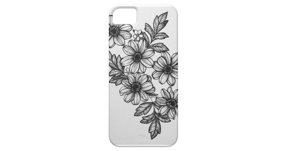 e68652cdb345d Blackwork Flowers Phone Case | Zazzle.com