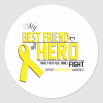 Bladder Cancer Awareness: best friend Classic Round Sticker