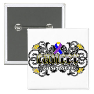 Bladder Cancer Awareness Floral Ornamental Pinback Buttons
