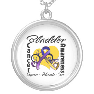 Bladder Cancer Awareness Heart Ribbon Pendants