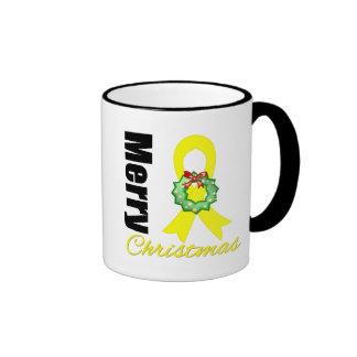 Bladder Cancer Awareness Merry Christmas Ribbon Mugs