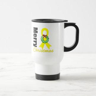 Bladder Cancer Awareness Merry Christmas Ribbon Coffee Mug