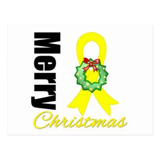 Bladder Cancer Awareness Merry Christmas Ribbon Postcard