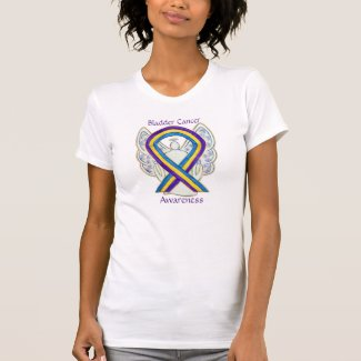 Bladder Cancer Awareness Ribbon Angel Art Shirts
