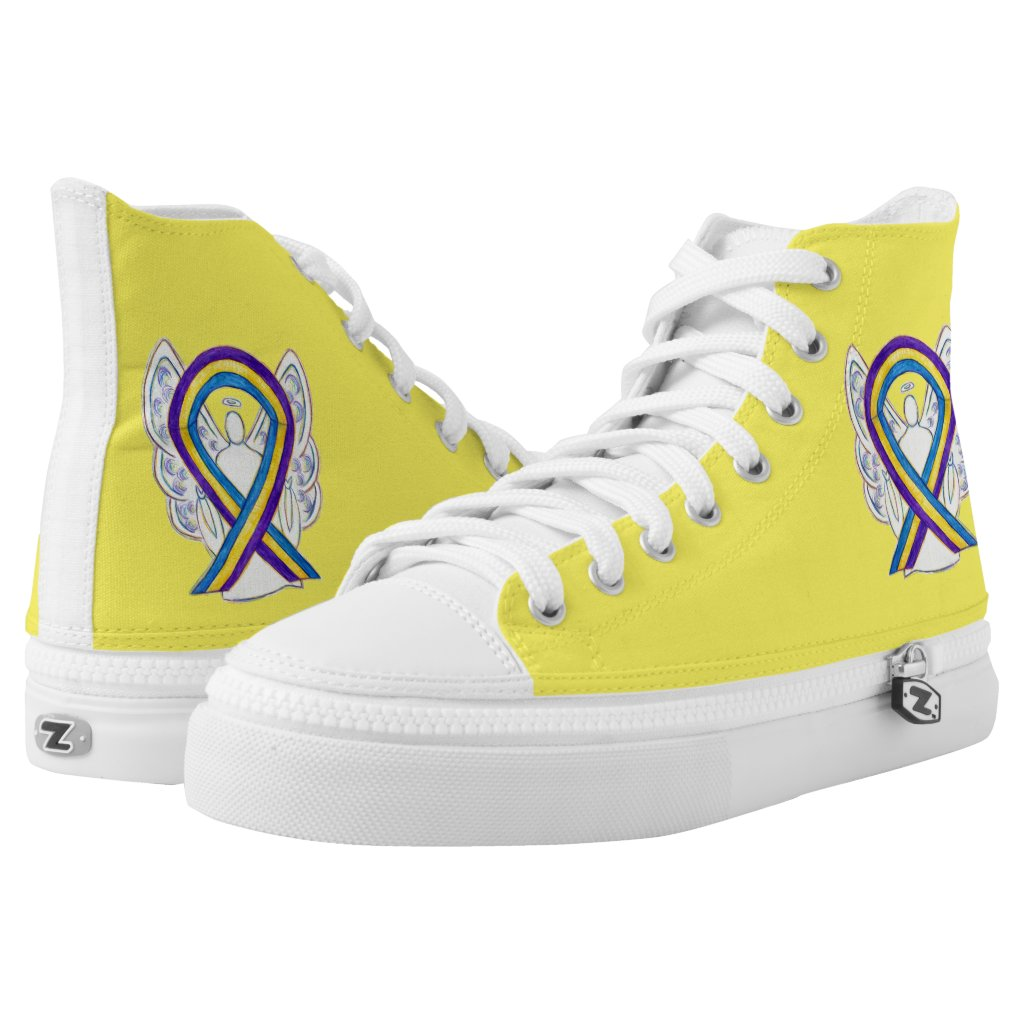 Bladder Cancer Awareness Ribbon Angel Custom Shoes